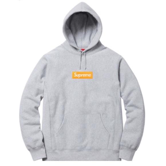 41ece77276b Supreme Sweaters | Box Logo Hoodie Grey And Orange Fw17 | Poshmark